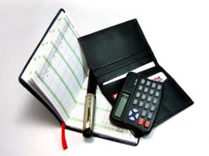 Financial analysis calculator Leather credit card case Diary Ink pen