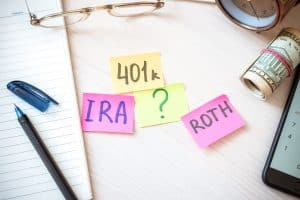 Words 401k Ira Roth On Pieces Of Colorful Paper, Money Dollars A