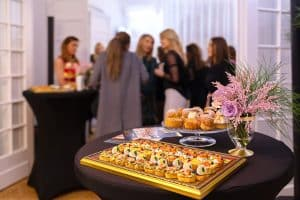 Delicious snacks on catering table